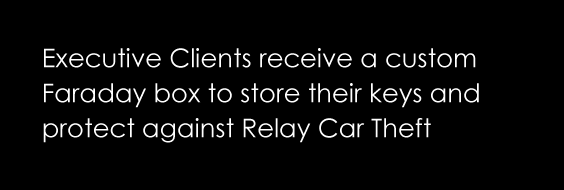 Executive clients receive a custom Faraday box to store their keys and protect against relay car theft.