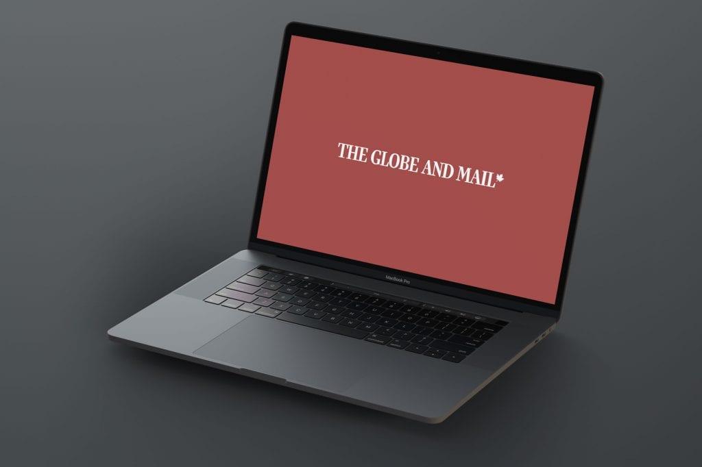 Laptop displaying Globe and Mail