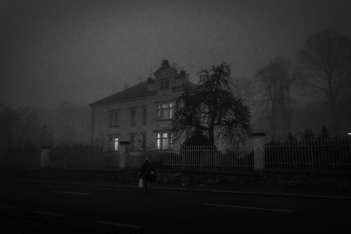 House at night.