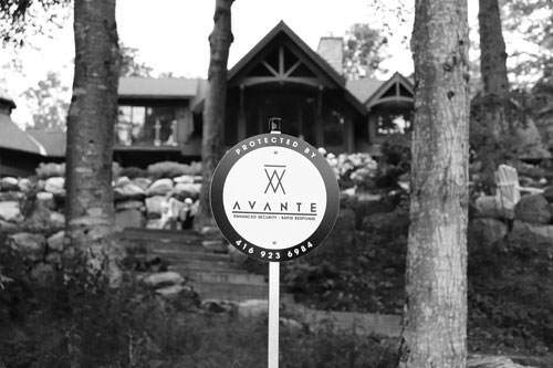 Avante Security sign in Muskoka cottage