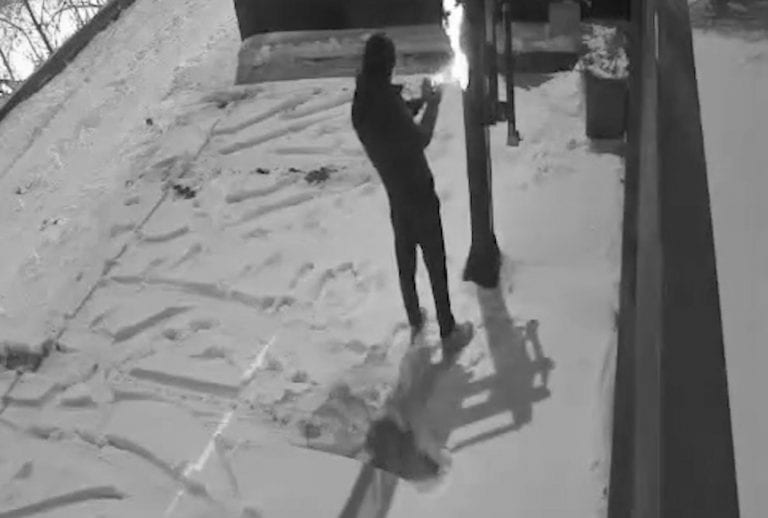 Man committing crime outdoor in Toronto